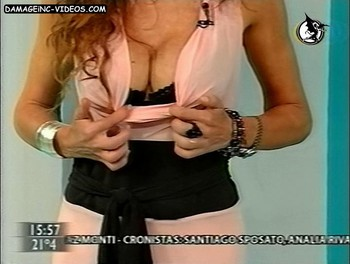 Ginette Reynal shows her bra on live tv video